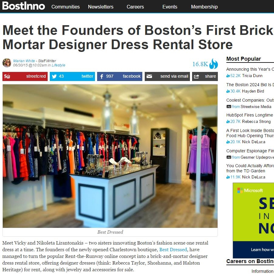BostInno Article: Meet the Founders of Boston's First Brick-and-Mortar Designer Dress Rental Store