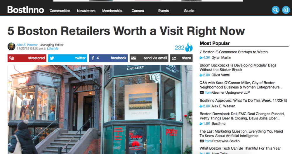 Bostinno article: 5 Boston Retailers Worth a Visit Right Now