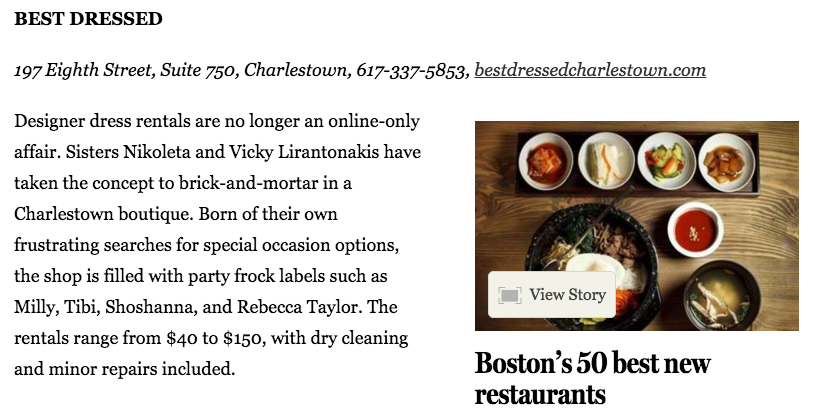 Boston Globe Best of the New January 2016