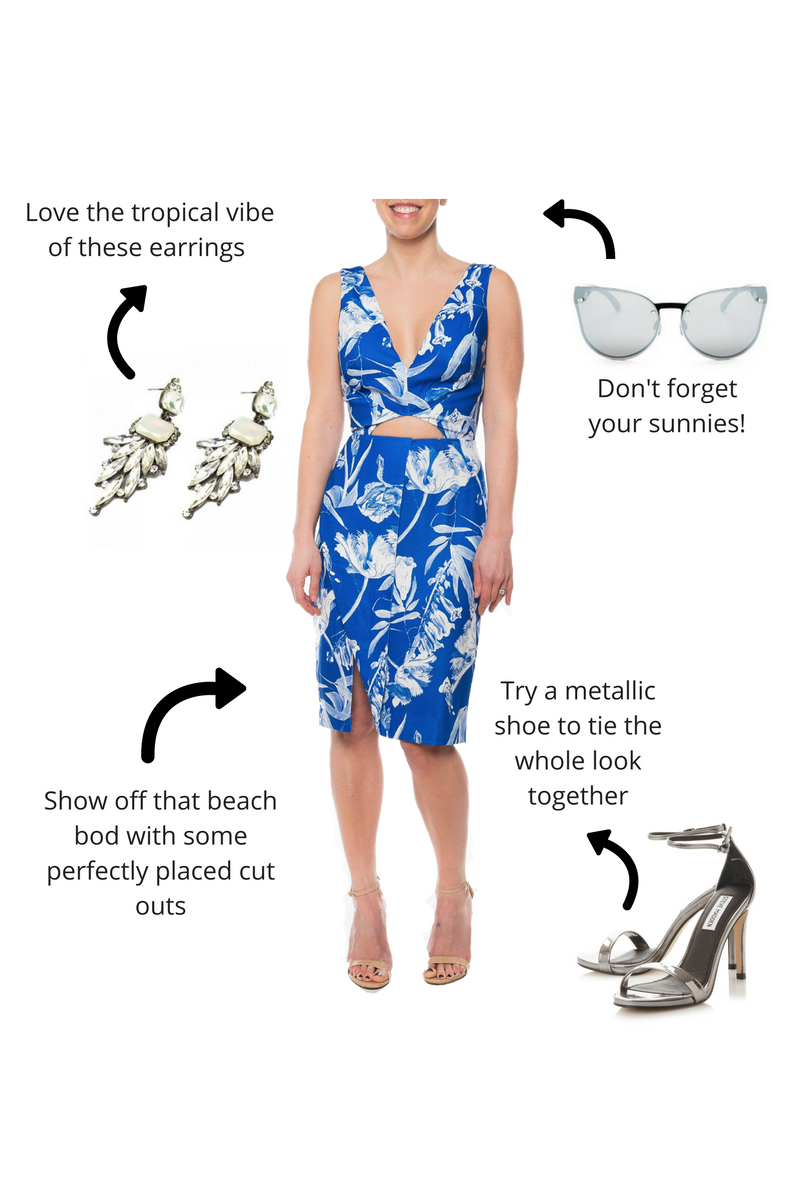 Cobalt palm print dress / Stylestalker / Retail $179 / @ Best Dressed $65 / Size x-small White chandelier earrings / @ Best Dressed $32 Metallic 2 strap shoe / Steve Madden / Retail $69 Cat eye sunglasses / Quay / Retail $55