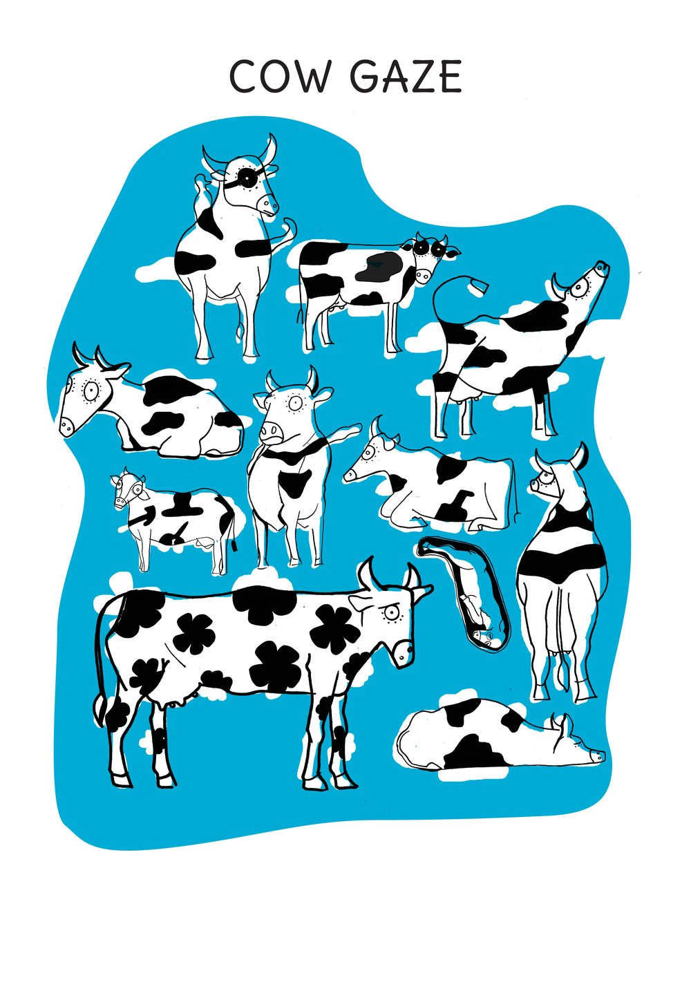 Cow spots, just like clouds, take different forms and meanings. This is an illustration inspired by a Made-Up Memories workshop that explored middle-eastern conflicts with a student activist group. The cow and farm told an allegorical story.