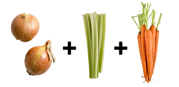 Onions, celery and carrots: the building blocks of any great vegetable stock. From there, add any root vegetables, ginger, lemongrass, parsley, you name it!