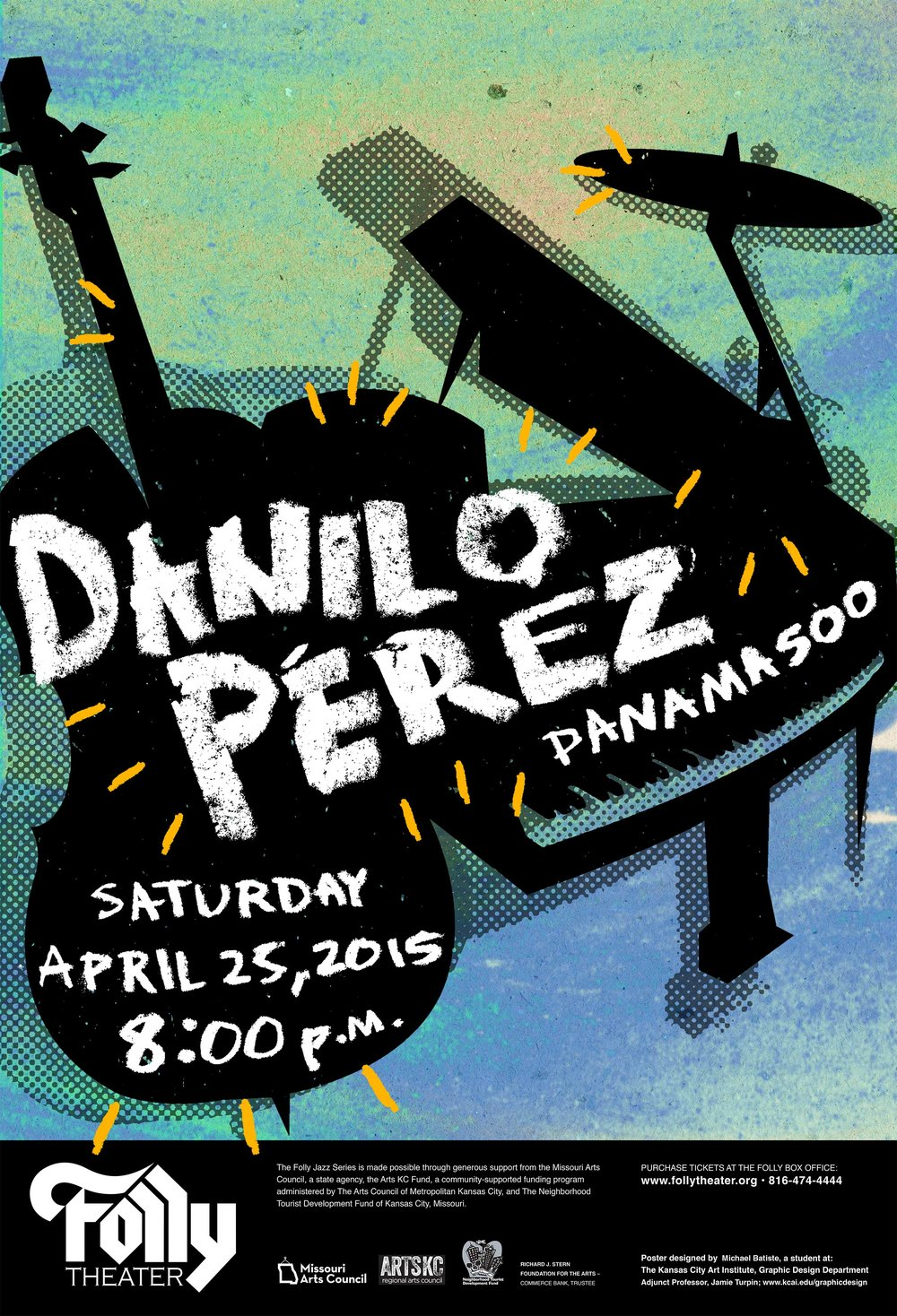 Folly Theatre Poster - Poster Design / Poster ContestPiece Date: April 2015This piece was a poster contest for Grammy Award-winning Panamanian jazz recording artist, Danilo Perez. It was on display at the Folly theater and was used as promotional artwork for the concert. This piece embodies the energy and vibrancy of the culture used to create the music, while showing an amalgamation of instruments.