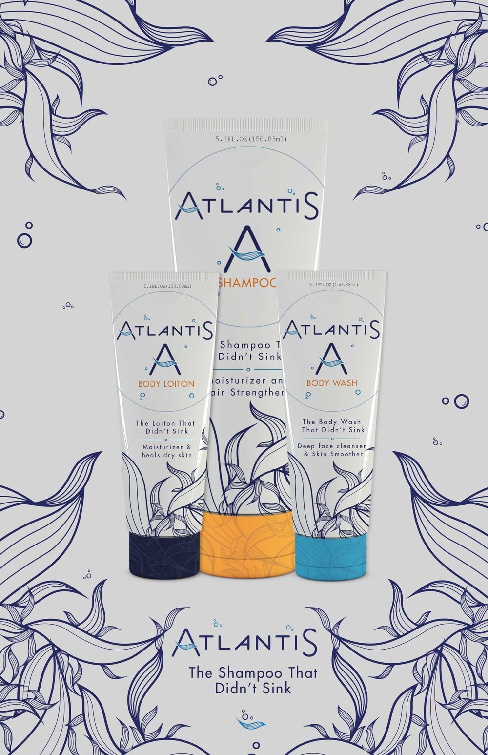 Atlantis Shampoo - Brand Concept / Package Design2016Atlantis Shampoo is a unisex shampoo brand that carries shampoo, body lotion, and body wash. The concept of the brand is based on the lost underwater city of Atlantis. The brand's identity uses a fresh and clean color scheme, while the seaweed pattern resembling hair marries the two worlds of sea-life and hygiene.