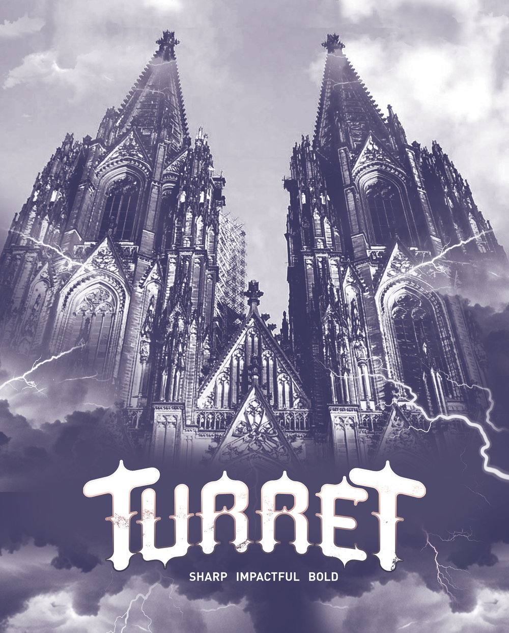 Turret - Typeface Design2015Turret is a sharp, barbed, bold typeface inspired by Medieval Cathedral architecture. The forms of this transitional typeface is an attempt of evoking the overwhelming experience of the antique churches. The organic edges are reminiscent to the rounded arches. The protruding spikes are to a rose window in a nave or siding of the structure. Turret is a display typeface with legibility best at 15 pts (point-size) or more.Turret was also featured in