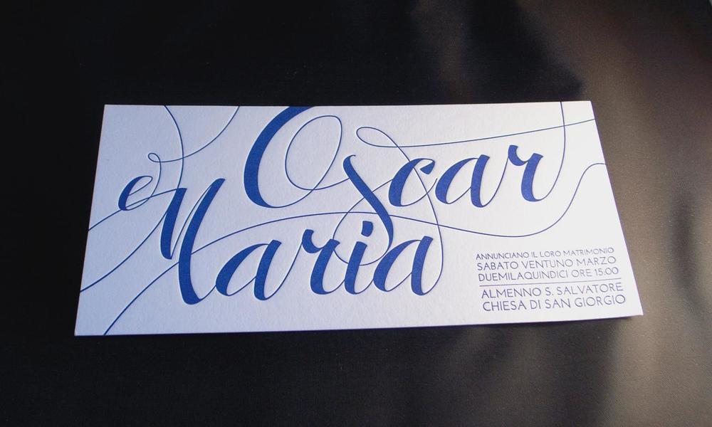 Partecipazione di matrimonio stampata in letterpress a un colore con cliché