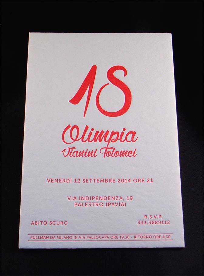 biglietto invito stampato in letterpress a un colore, su cartoncino da 900 gr