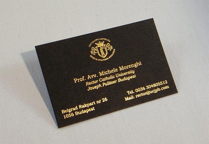 Biglietto Da Visita Stampato Oro Su Nero In Termorilievo