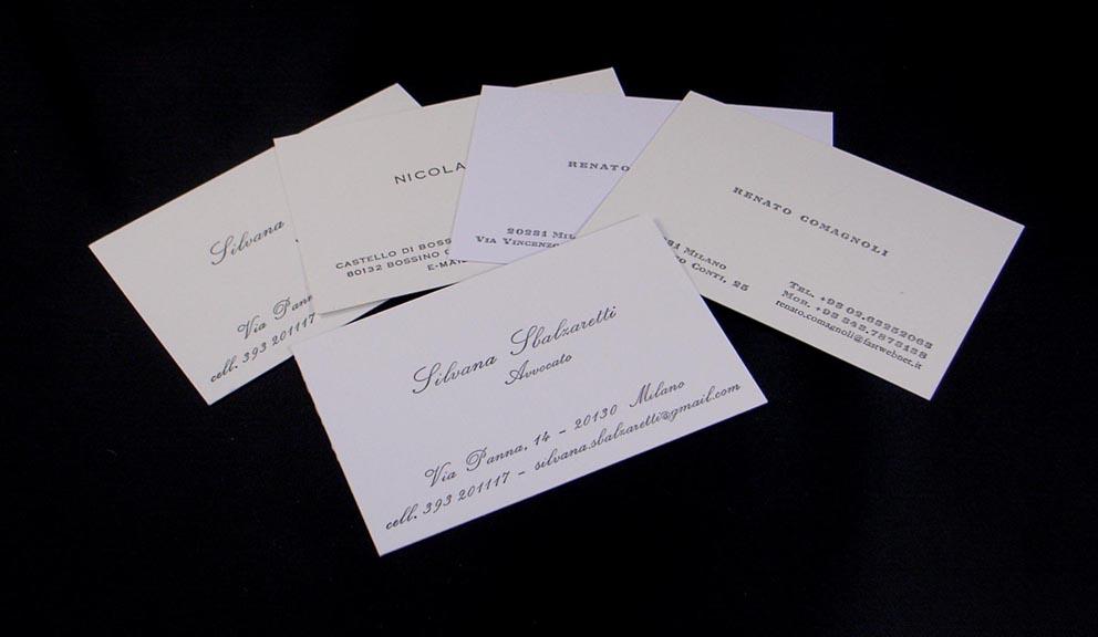 biglietti da visita stampati con caratteri mobili