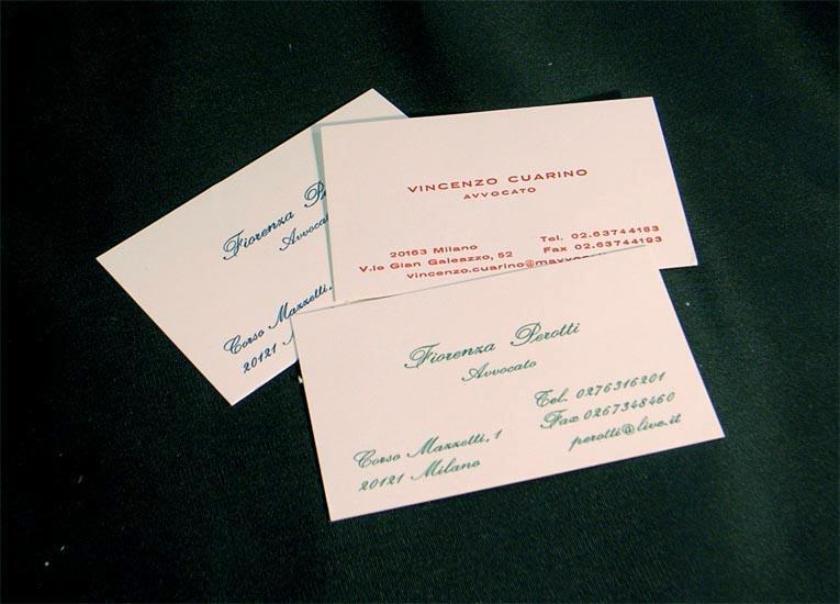 biglietti da visita stampati in termorilievo a colori