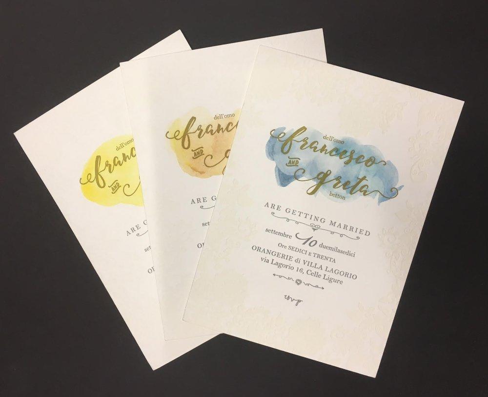 Carta Gmund 600 gr, stampa Letterpress 3 colori, più acquarello steso a mano - Progetto grafico DiZeta