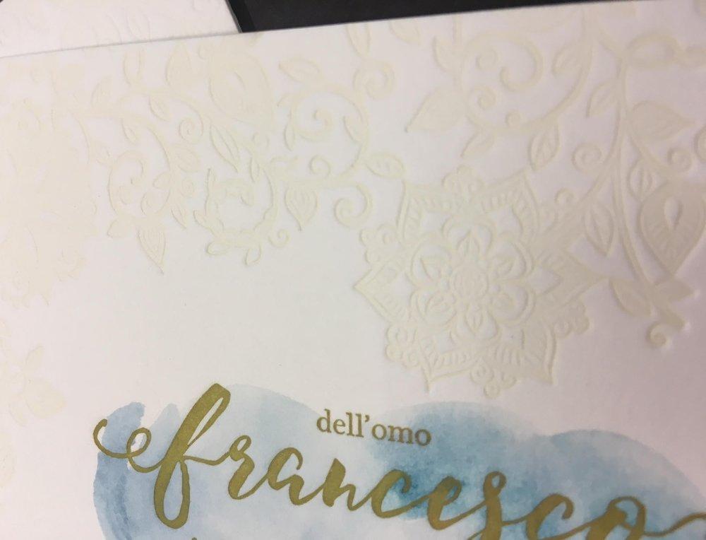 Particolare - Carta Gmund 600 gr, stampa Letterpress 3 colori, più acquarello steso a mano - Progetto grafico DiZeta