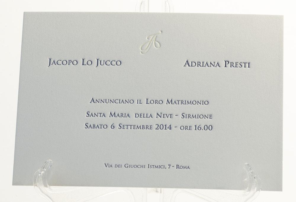 Carta Gmund 600 gr, stampa Letterpress a 2 colori