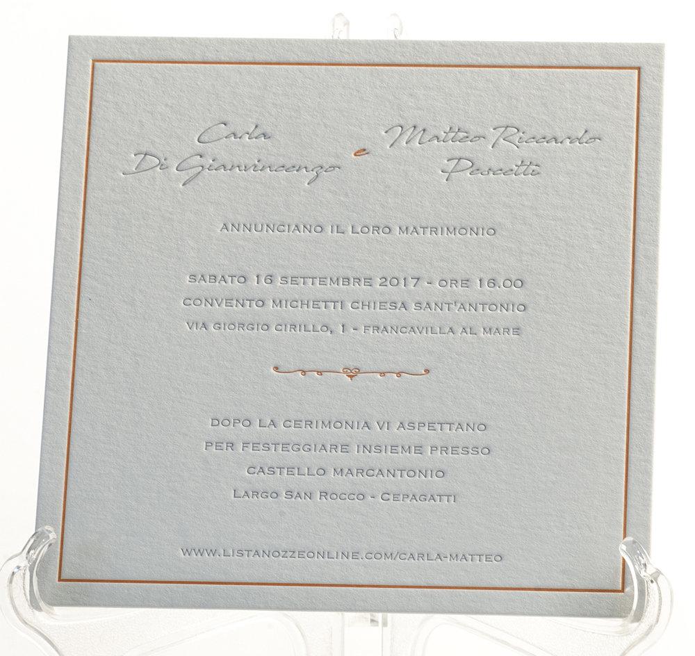 Carta Fedrigoni Materica Gesso 360 gr, stampa Letterpress a 2 colori