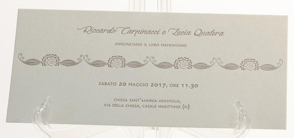 Carta Fedrigoni Materica Limenstone 360 gr, stampa Letterpress a 1 colori