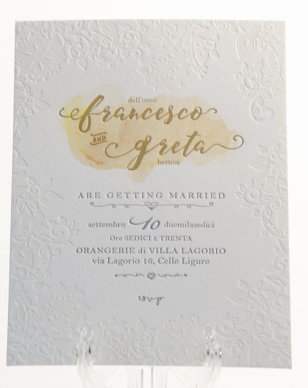 Carta Gmund 600 gr, stampa Letterpress a 3 colori + acquarello