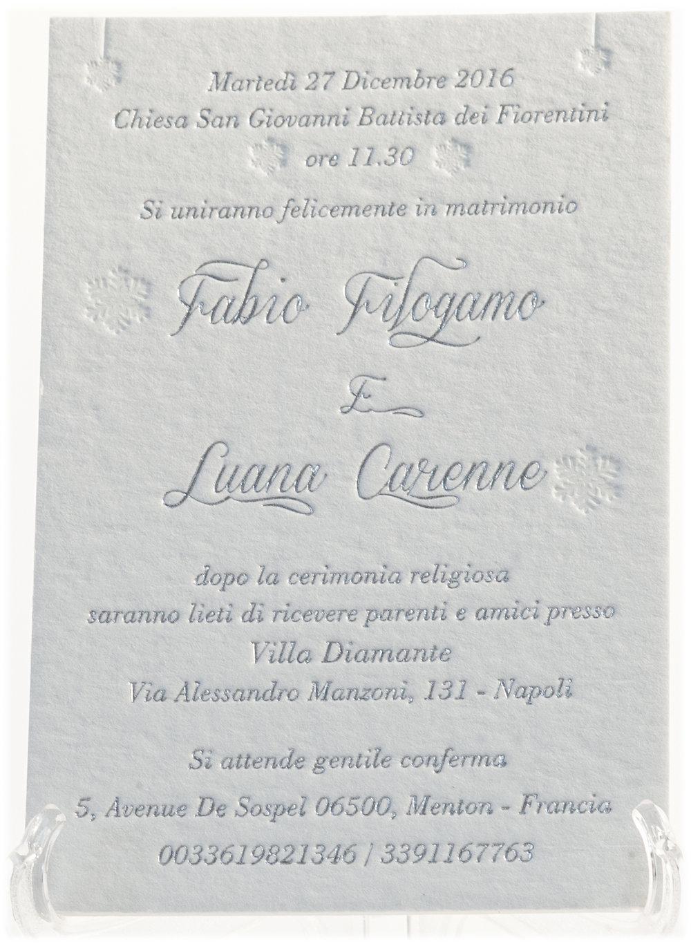 Carta Cordenons Wild 850 gr, stampa Letterpress a 1 colore + argento a caldo