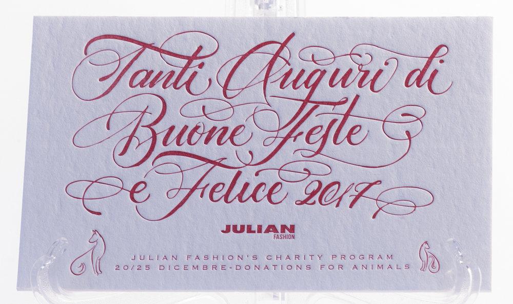 Carta Cordenons Wild 450 gr, stampa Letterpress a 1 colore con clichè da calligrafo