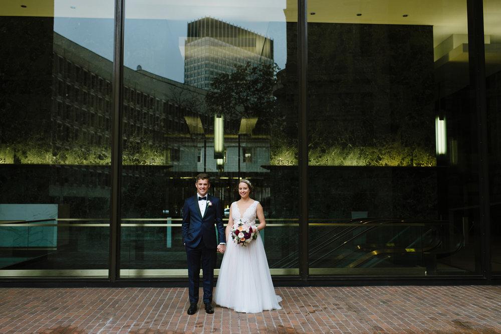 Outside the UMass Club, Boston for Amanda and Eric's wedding day