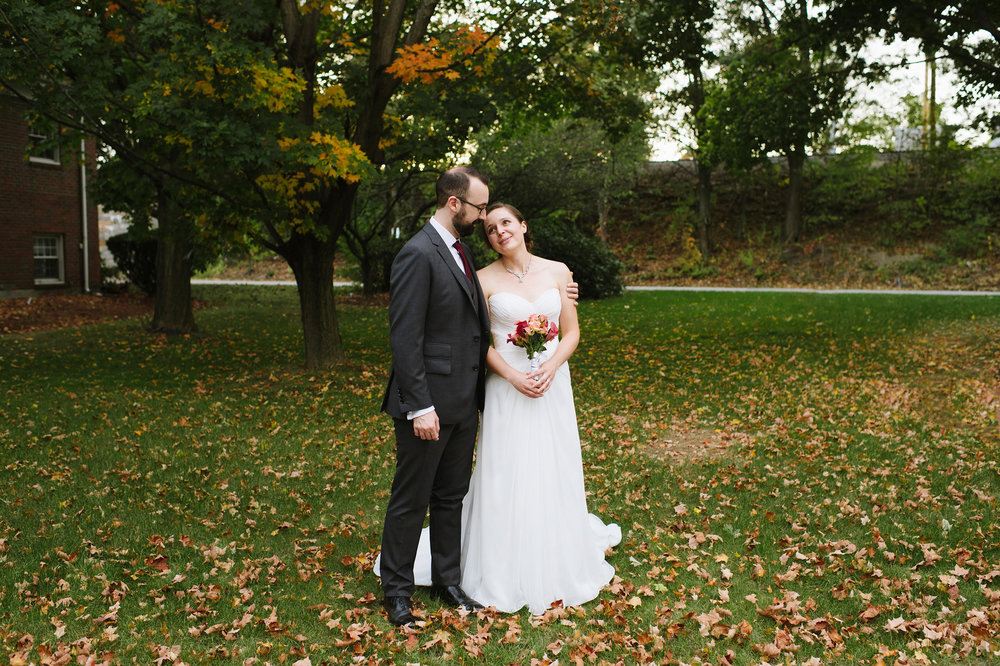 Bride and groom outside The Griffin Museum of Photography on their wedding day