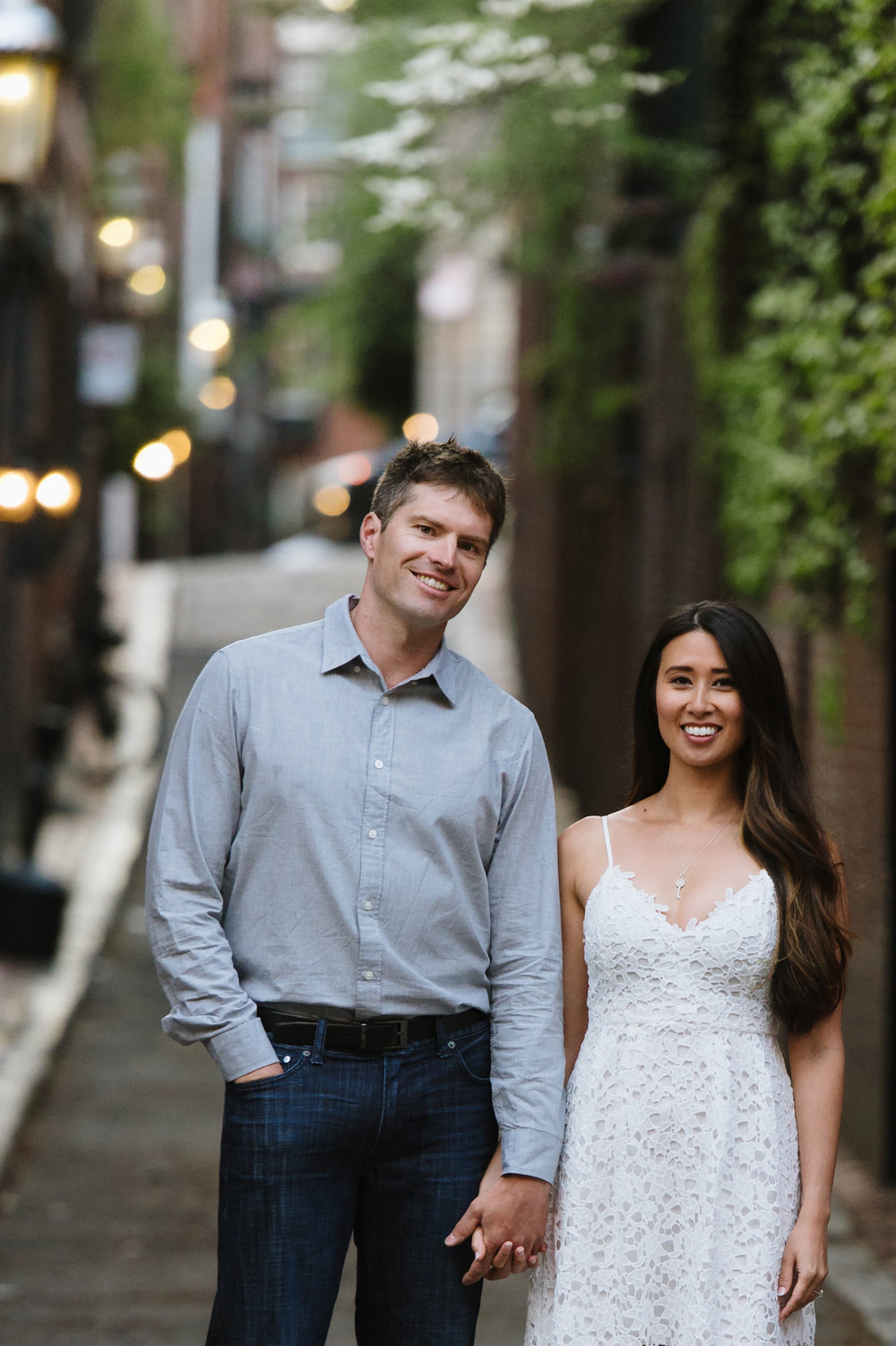 Couple standing in Beacon Hill for engagement session photography