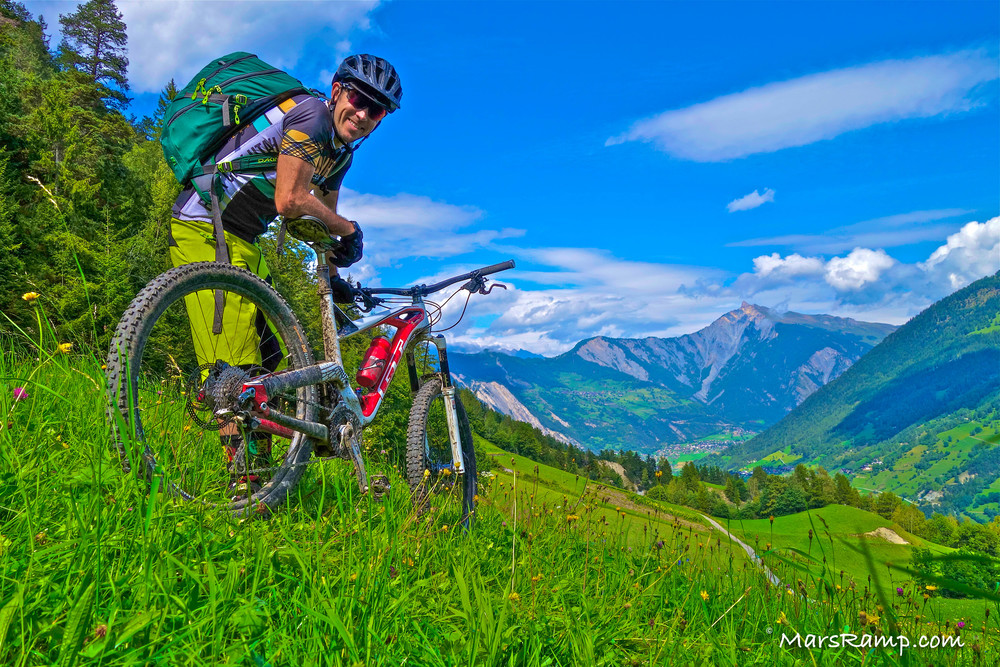 Above:  Mountain biking in the Swiss Alps during a solo Haute Route adventure in 2014.  This is from day one, just outside of Verbier, Switzerland.