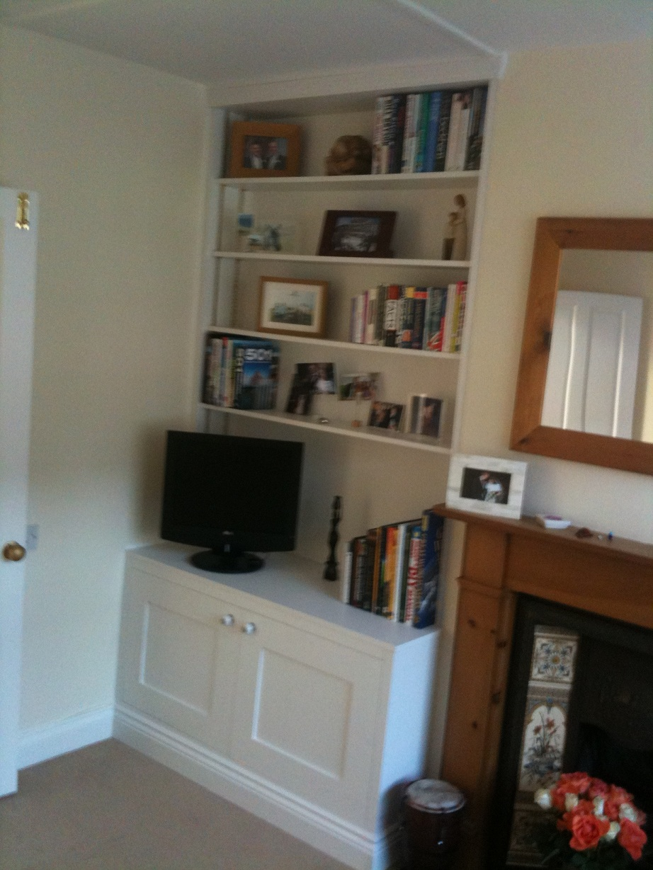 Bookshelves with cupboard underneath, , painted MDF.JPG