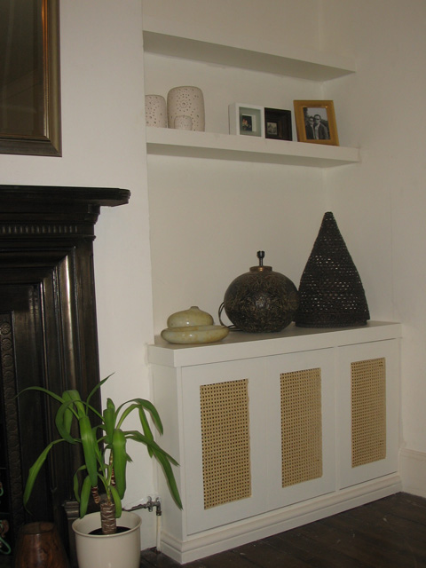 French Cane unit with floating shelves above, painted MDF.jpg