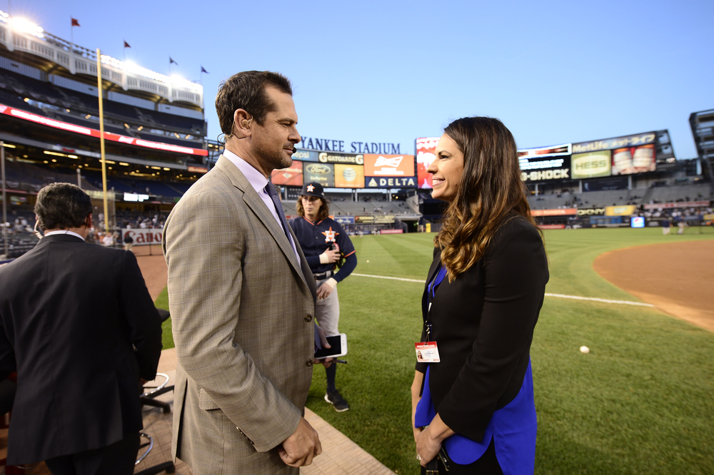 Bronx, NY - October 6, 2015 - Yankee Stadium: Aaron Boone and Jessica Mendoza prior to the 2015 American League Wild Card Game