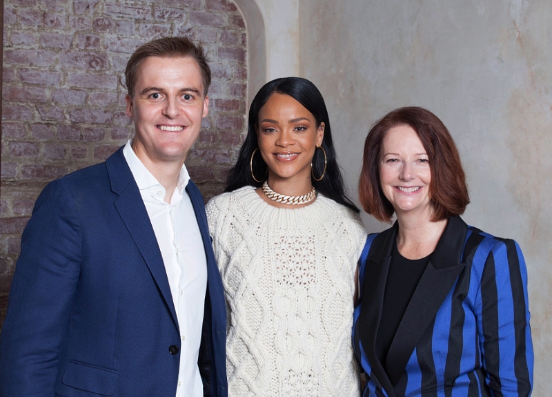 Hugh Evans, CEO of Global Citizen, with Rihanna and Global Partnership for             Education (GPE) Chair and former Prime Minister of Australia, Julia Gillard, announce partnership with Rihanna's Clara Lionel Foundation where she will serve as the Global Ambassador for Education. PRNEWSFOTO/CLARA LIONEL FOUNDATION,GLOBAL