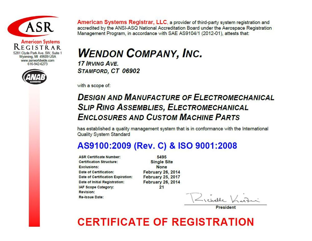 AS9100 Certification — WENDON