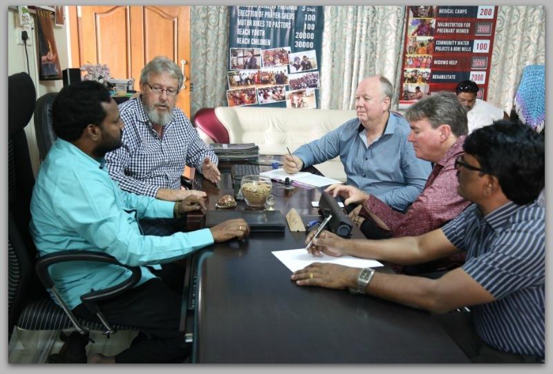 Strategic planning with Apostolic team: Left to Right – Apostle Prasad Rao, Apostle Chris Peterson, Tom Lew, Mitchael Curtis, Pastor Jonathan.
