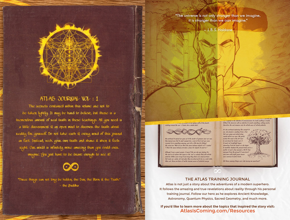 Atlas Origins Issue #1 Journal Back Cover & Journal Explanation