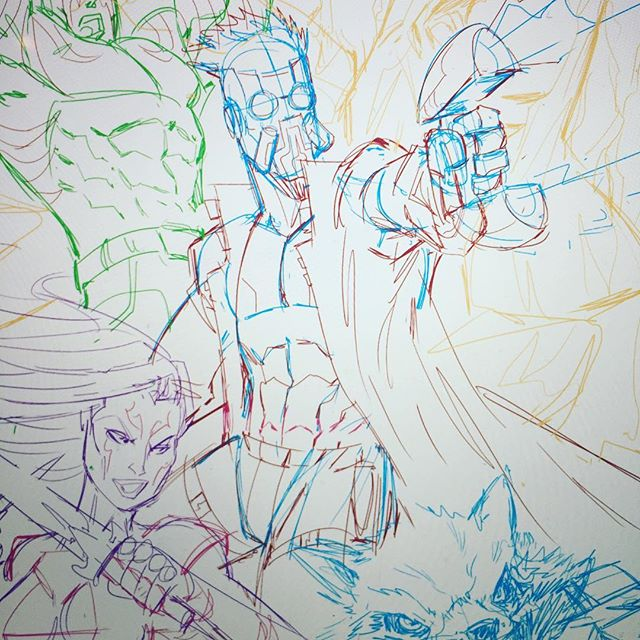Sketching some fun stuff for Sunday. #guardiansofthegalaxy #daveswartzart #sketching #comics #marvel