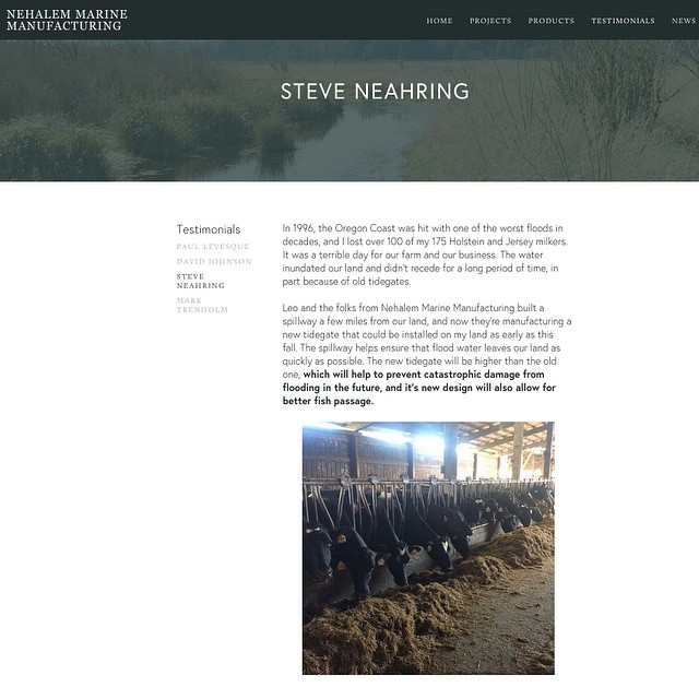 Head on over to our new website to read about our work, past and current projects, and testimonials, including one from @neahring_dairy  www.nehalemmarine.com