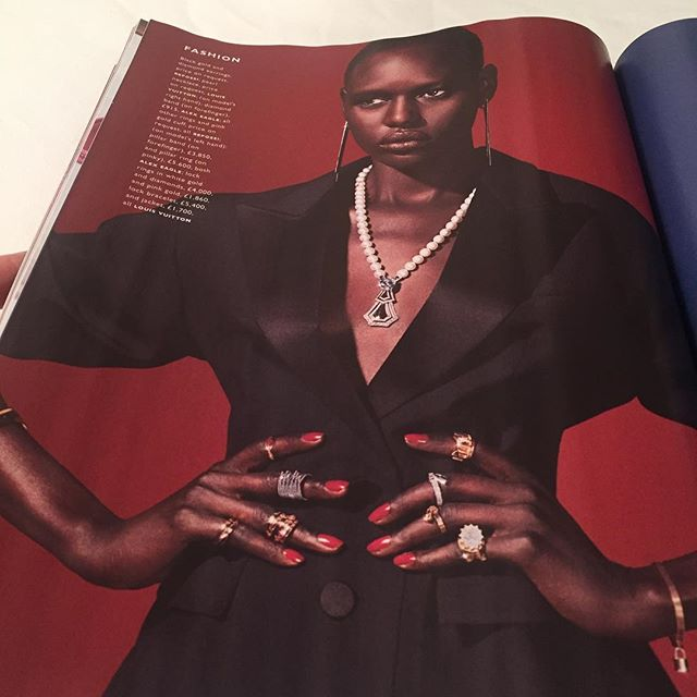 Beautiful @iajakdeng wearing gold and diamond Pillar rings available at @alexeagleofficial @eagletta featured in @graziauk #luxe issue. Styling @nataliewj, photography @alexbramall #completedworks #alexeagle #lovegold
