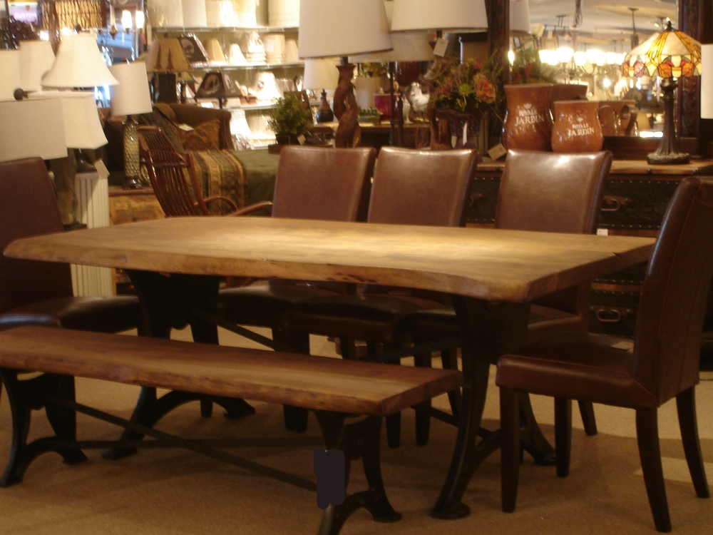 LIve Edge Wood & Iron Dining Set