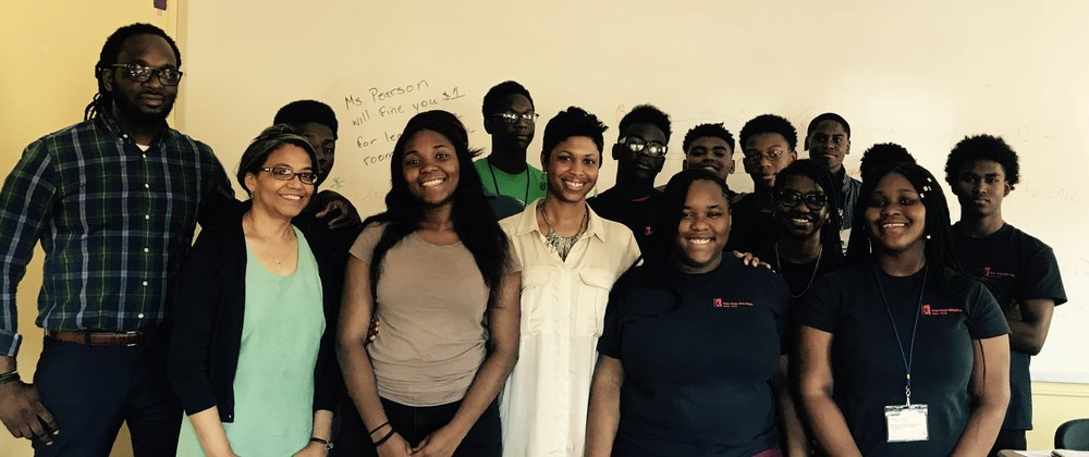 Robin White-Good, journalist from Black Enterprise takes some time to visit with Financially CLEAN and the students of Boys Hope Girls Hope college mentorship program at St. Joseph's College campus, in Clinton Hill, Brooklyn.