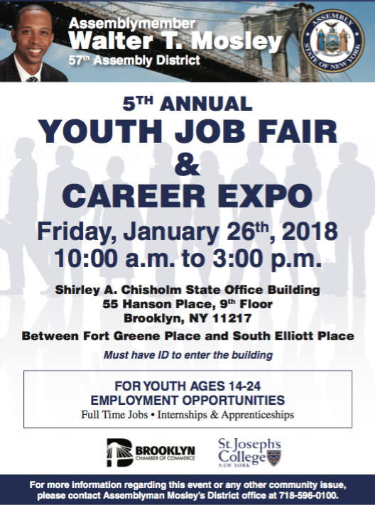 January 26th - Hundreds of high school and college students attend Assemblymember Walter Mosley's Youth Job Fair every year, giving young people an opportunity to gain valuable summer experience, acquire skills and build their network. It is open to the public so it is certainly worth spreading the word.