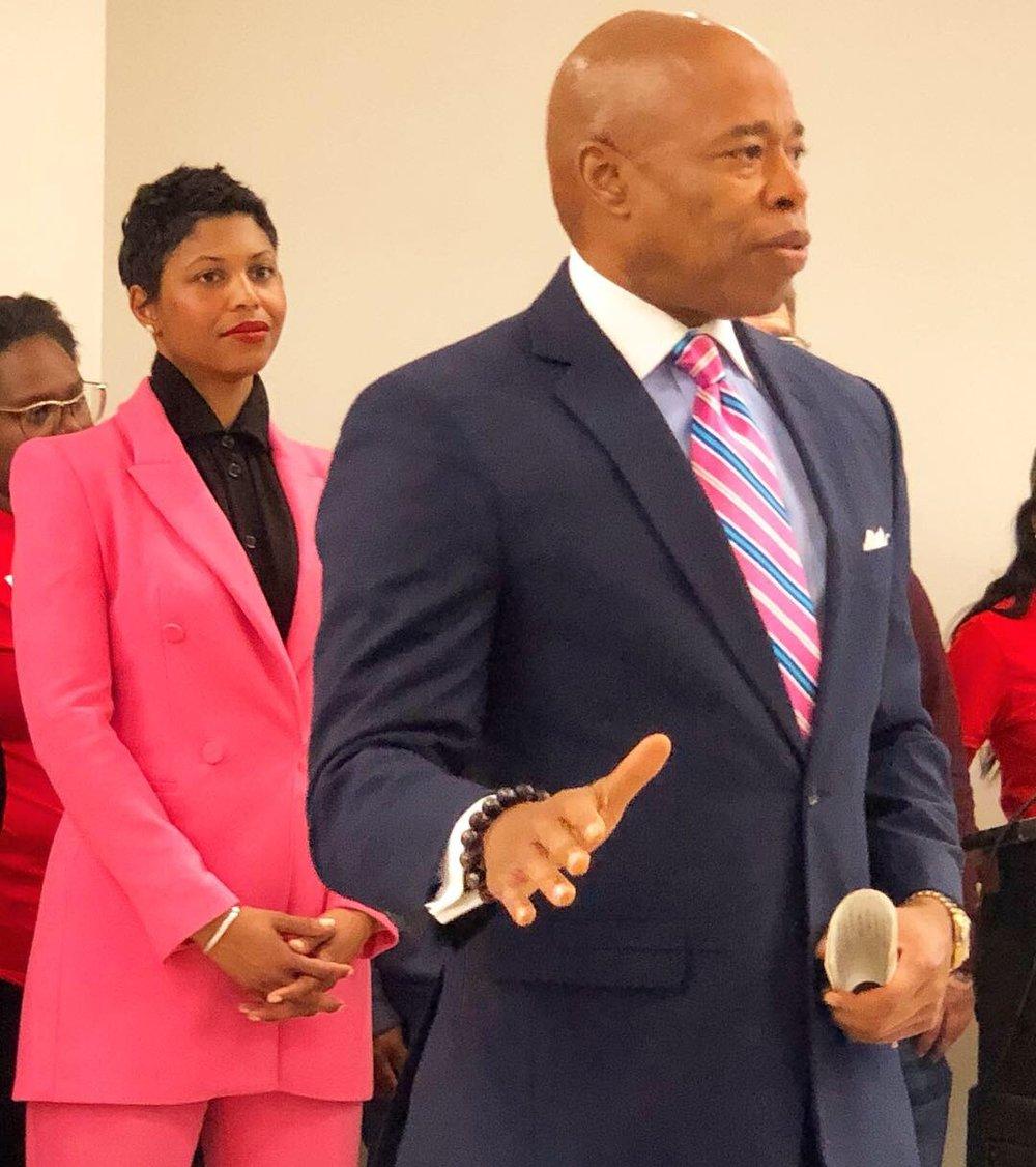 Brooklyn Borough President Eric L. Adams and Financially CLEAN's Dionne Nicholls