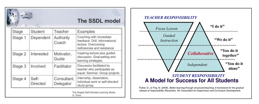 Self-Directed Learning                                               Gradual Release of Responsibility Self-directed learning has everything to do with the responsibility and accountability for learning, i.e., who drives the learning, who is responsible for what is learned, when it is learned and how it is learned.