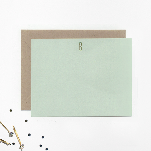foil initial note cards - Initial Note Cards