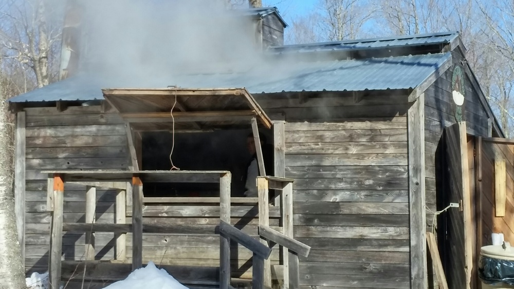 Steam from the boiling maple tree sap.