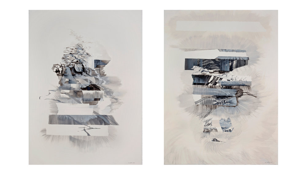 "Vestiges and Thieveries - diptych                         watercolour and ink on paper, 30"" x 44"""