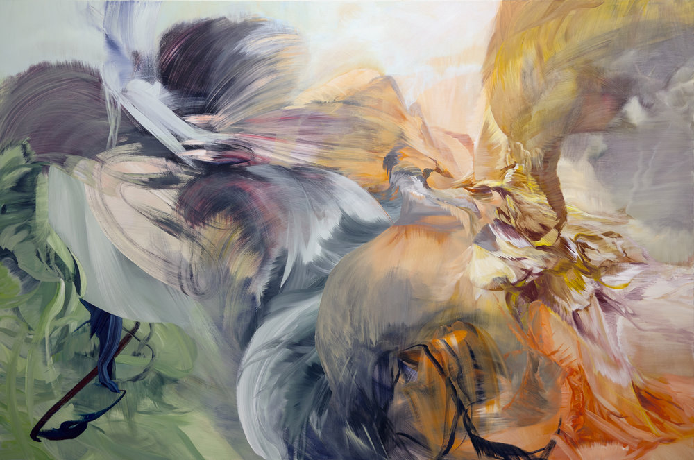"Authier's painting  Chimera , acrylic on canvas, 72"" x 108"", 2016 is one of fifteen works currently on view at the Arsenal Montreal."