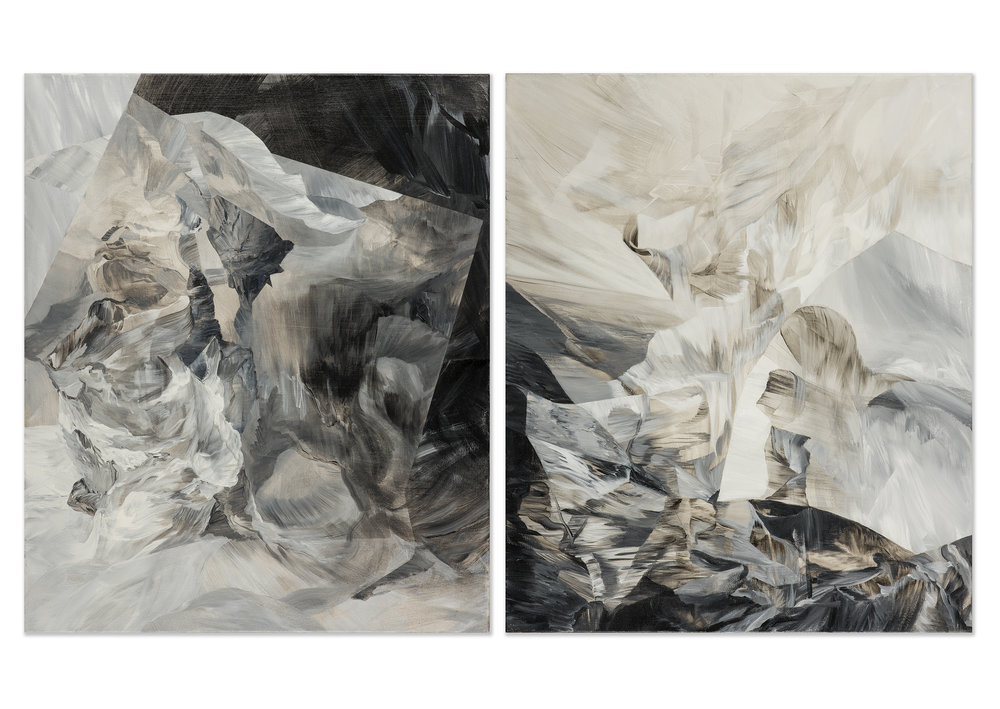 "Revenant - diptych                acrylic on canvas, 36"" x 60"", 2015"