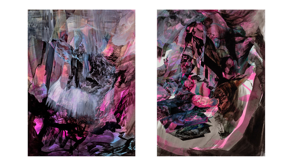 "Scylla and Charybdis - diptych                   watercolour and ink on paper, 30"" x 44"", 2015"