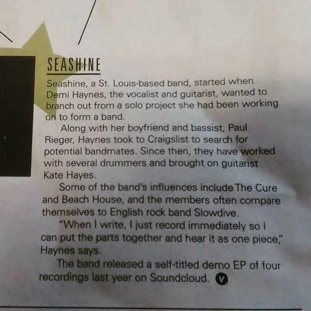 In case you haven't nabbed yesterday's @voxmagazine, here's the bit about Seashine who're playing Columbia tomorrow at Starflyerfest for the first time. #slowdivelove #gazerpress #TOMMOROW
