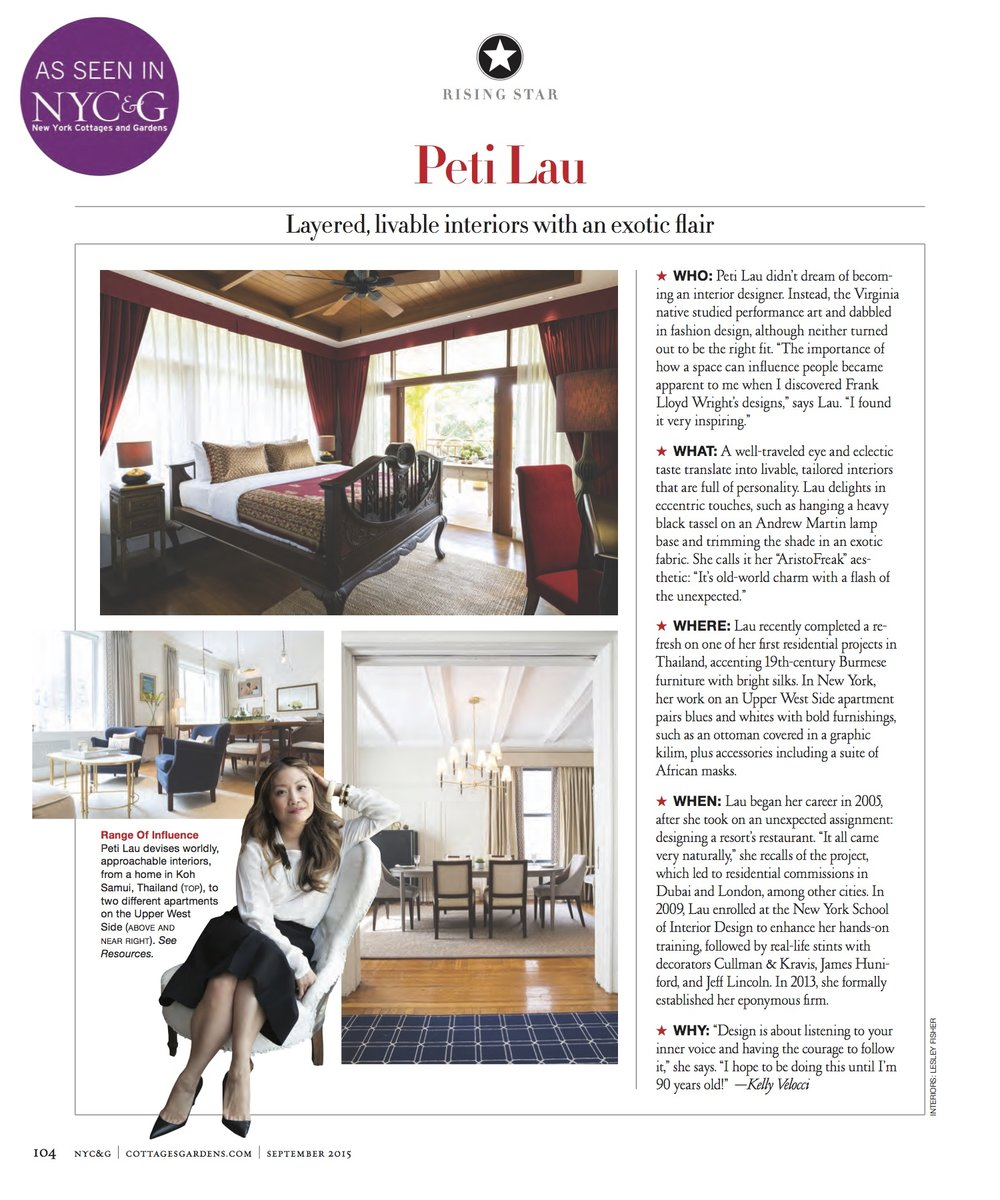 Rising Star: Peti Lau Layered, livable interiors with an exotic flair