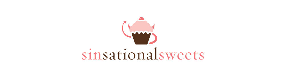 Sinsational Sweets - Brand for a bakery - contains a cupcake in the logo